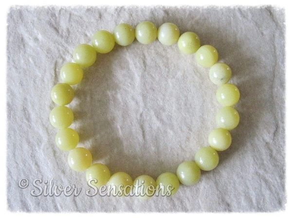 Yellow Olive Jade Round Beaded Stretch Fashion Bracelet | Silver Sensations
